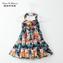 2017 Baby Girl Princess Dress 4-12Years Sling Floral dress with a floral design Beach dress birthday clothing summer party dress