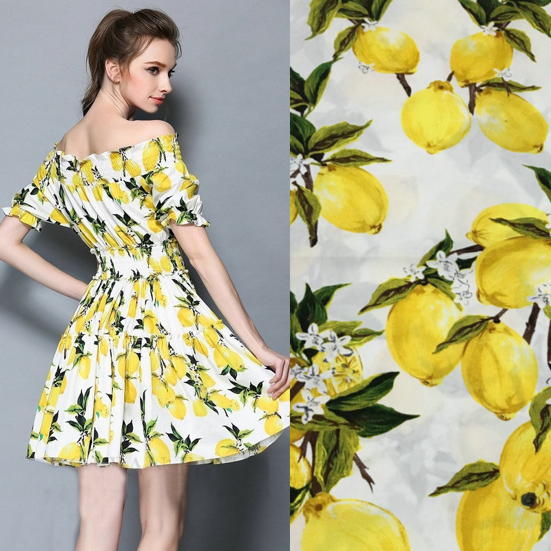 Lemon printed fabric 100 cotton fabric for women for Fabric for kids clothes