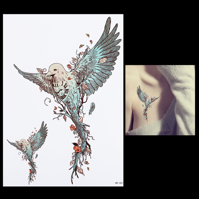 1 Sheet Flying Eagle Tattoo Waterproof DIY Decal HB461 Beauty Women Men Body Back Leg Art Flower Temporary Tattoo Sticker Design