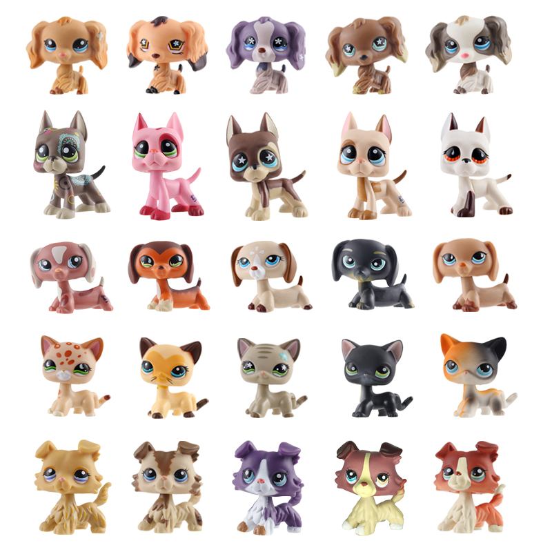 Rare Pet Shop Lps Toy Dog Cat Real White Brown Pink Black Old Standing Little Short Hair Child Giftdachshund Collie Great Dane