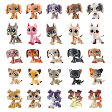 rare Pet Shop Lps Toy Dog Cat Real White Brown pink Black Old standing little short hair Child Giftdachshund collie great dane pet shop lps toys great dane dog 577 blue brown flowered eyes white puppy figure child toy without magnet dog gift