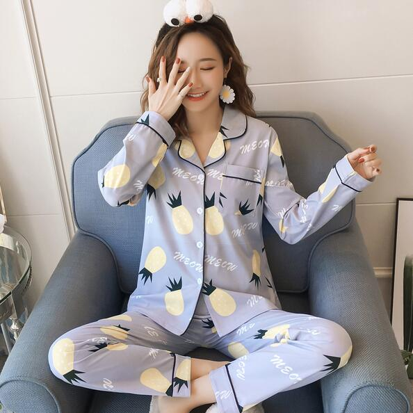 New Cardigan Set Pajamas Women Spring and Autumn Cotton Long Sleeve Sweet Cute Home Service Two