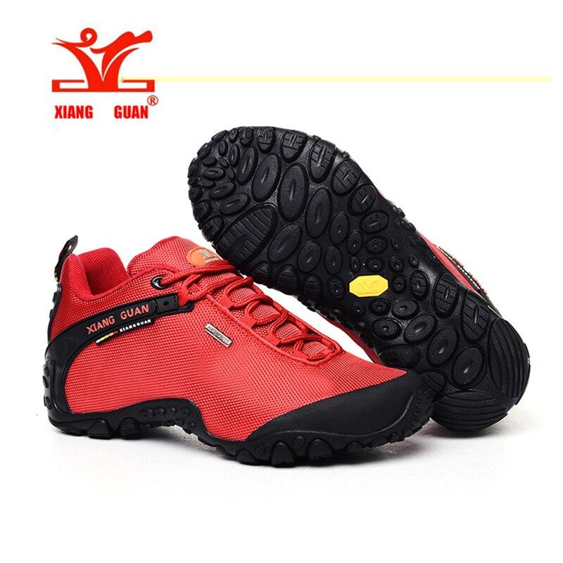 XIANGGUAN Woman Hiking Shoes Women Athletic Trekking Boots Red Zapatillas Sports Climbing Hike Shoe Outdoor Walking