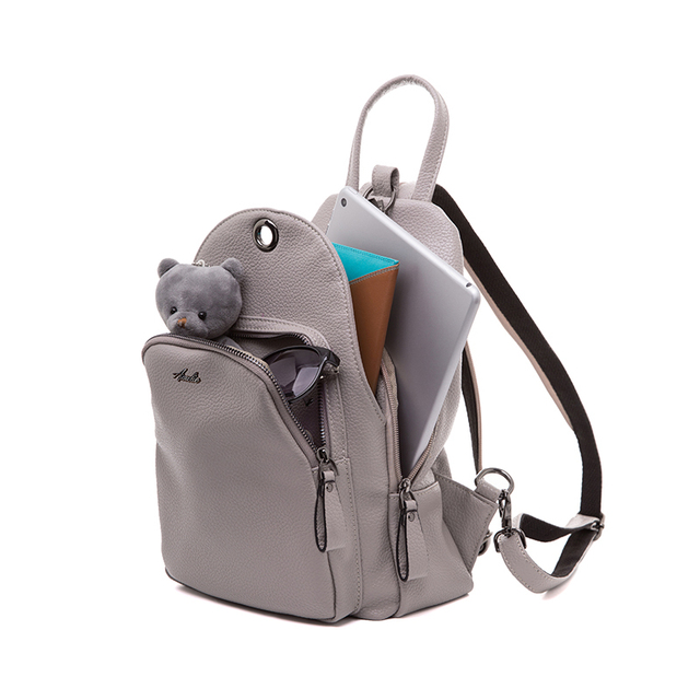 AMELIE GALANTI Leather Women Backpack Soft PU Leather Fashion Solid Female Backpack Designed for Women School Backpacks