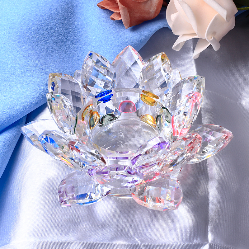 Handgjorda Crystal Lotus Flower Candle Holders 7 Färger Candlestick Glass Candle Stand För Table Centerpieces Home Decor