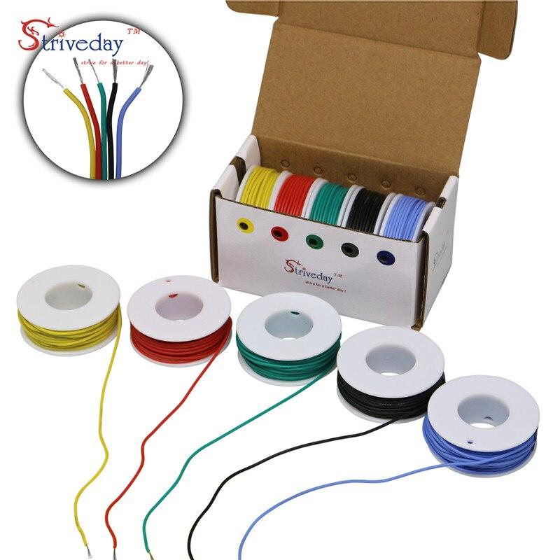 30/28/26/24/22/20/18awg Cable Flexible de silicona de 5 colores paquete de mezcla de cable eléctrico de cobre trenzado DIY