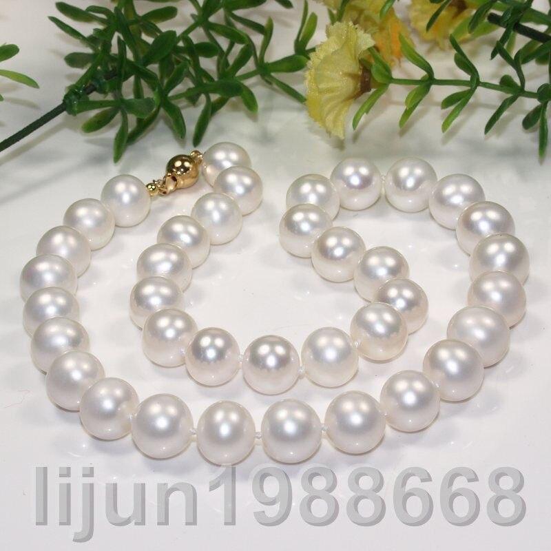 beautiful gift AAA 11-12mm white freshwarer cultured round pearl necklacebeautiful gift AAA 11-12mm white freshwarer cultured round pearl necklace