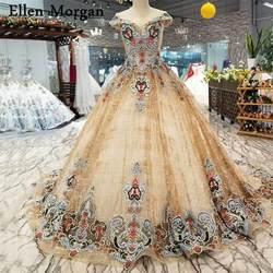 Золотой блеск ткани свадебные платья 2019 с Кристалл Sheer шеи кружевной рукав-крылышко принцесса индивидуальный заказ Длинные платья невесты