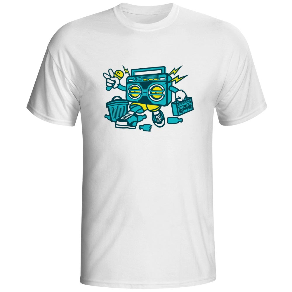 Ghetto Blaster With Boombox T Shirt Retro 80s Music Novelty Funny Hip Hop T-shirt Brand Anime Punk Unisex Tee image