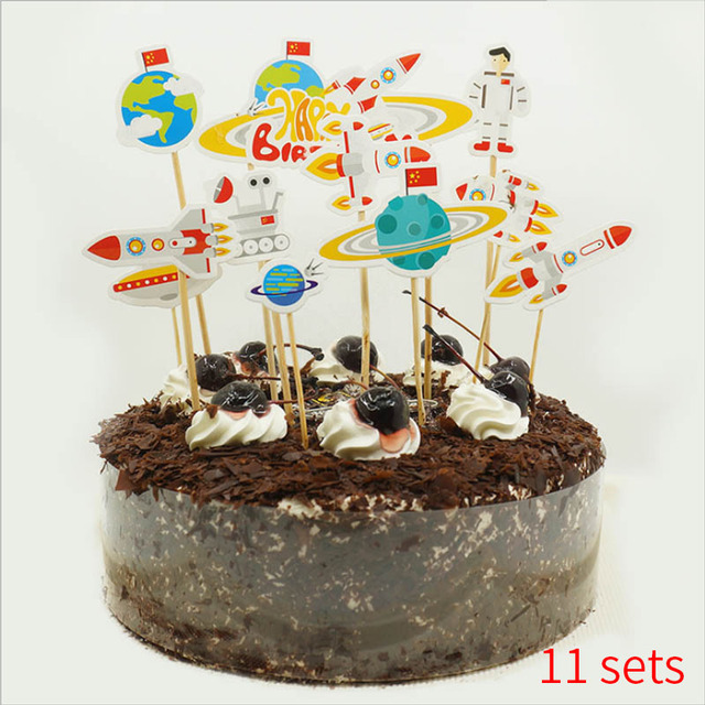 Sensational Solar System Outer Space Party Astronaut Rocket Ship Cake Topper Funny Birthday Cards Online Overcheapnameinfo