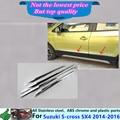 Para Suzuk1 SX4 s-cross 2014 2015 2016 ABS cromo styling panel de la lámpara de Moldeo Streamer Puerta lateral Del Cuerpo de ajuste del palillo de Gaza 4 unids