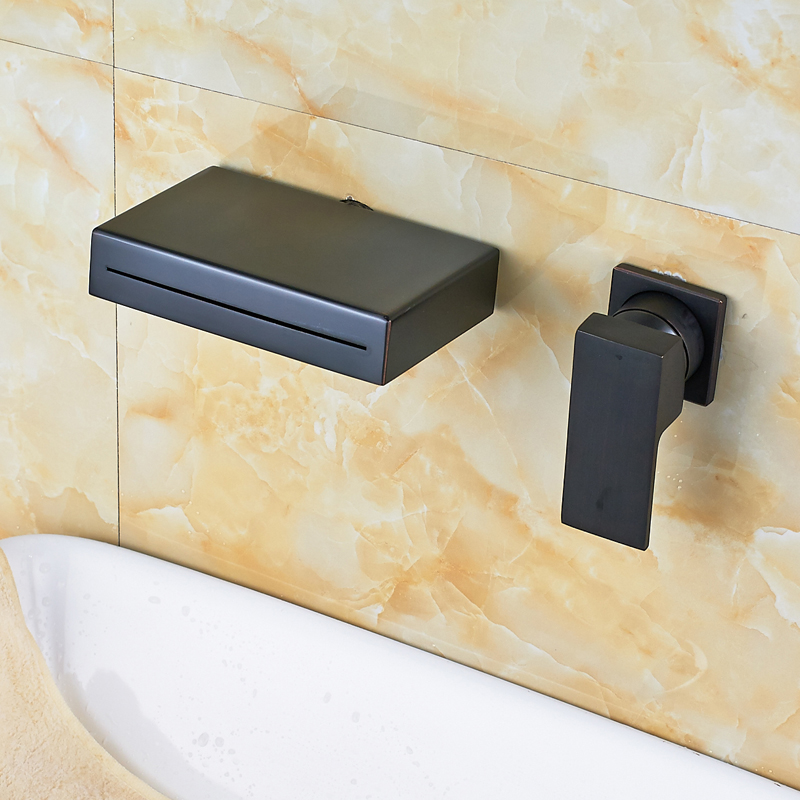 Oil Rubbed Bronze Finished Wall Mounted Single Handle Bathroom Sink Faucet Waterfall Spout Mixer Tap bathroom accessory wall mounted black oil rubbed bronze toothbrush holder with two ceramic cups wba451