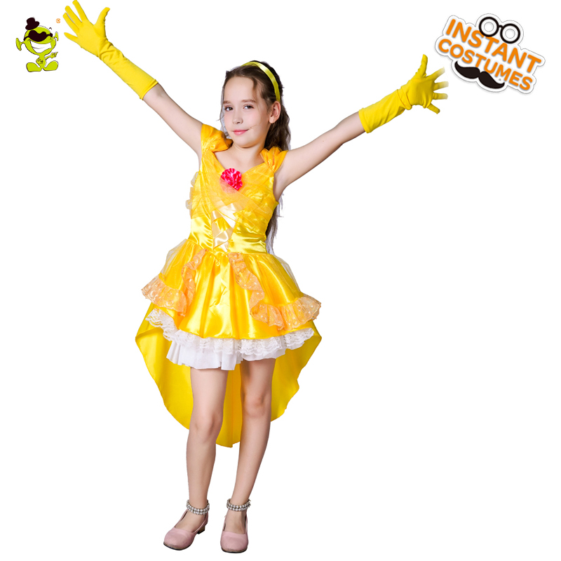 Super Arrtactive Yellow Princess Costumes Girls Beautiful Fairy Dress Kids  Deluxe Queen Decoration Sets For Party Performance In Girls Costumes From  Novelty ...
