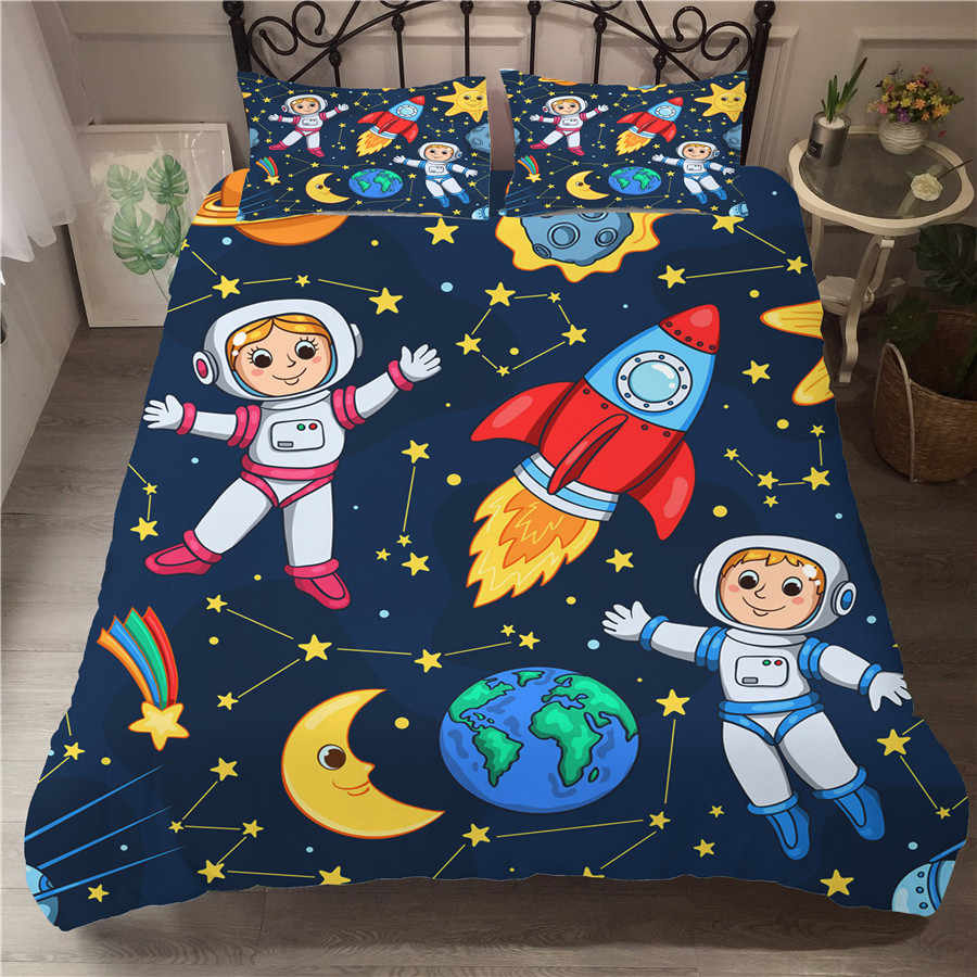 A Bedding Set 3D Printed Duvet Cover Bed Set Space astronaut Home Textiles for Adults Bedclothes with Pillowcase #ETTK01