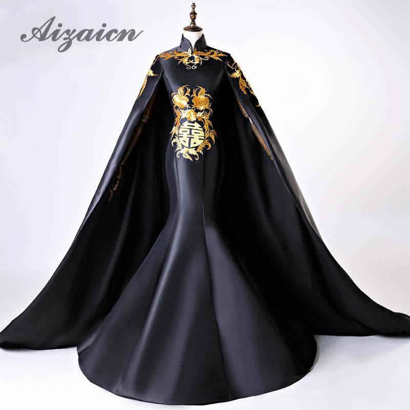 高級黒イブニングガウンで床長ショールマーメイド伝統的なパーティードレスヴィンテージ刺繍中国のウェディングドレス