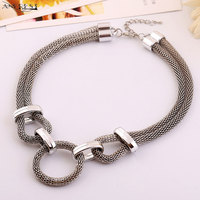 Geometric Necklace Silver Statement Jewellery Gothic Choker By The Neck Accessories For Women Round Circle Designer