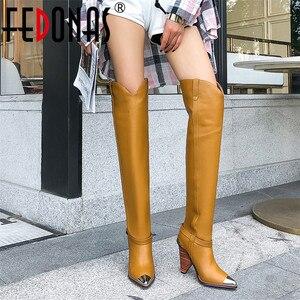 Image 1 - FEDONAS موضة ماركة النساء المعادن أشار تو حذاء برقبة للركبة جلد طبيعي الخريف الشتاء طويل فارس أحذية عالية أحذية امرأة