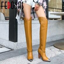 Fedonasファッションブランドの女性の金属のブーツブーツ本革秋冬ロング騎士ブーツ高靴女性