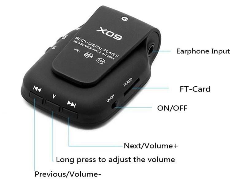 RUIZU X09 MINI MP3 Player Running Sports Clip Mp3 Walkman Support TF Card Music Player With 1.5 inch Screen E-Book Recording FM (11)