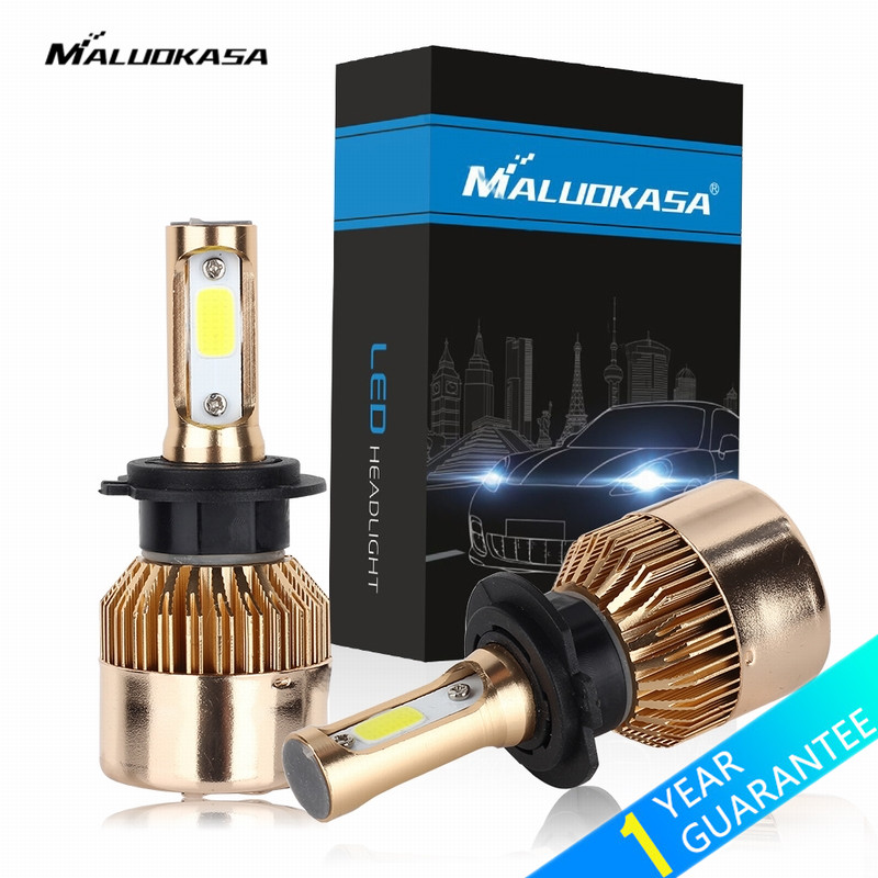 MALUOKASA 2PCs 72W H7 LED H4 Car Headlight H1 H3 H8 H9 H11 9005 HB3 9006