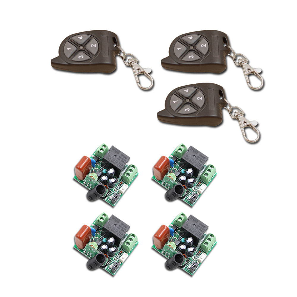 Special Design AC220V 1CH RF Wireless Remote Control Switch System 3pcs Mini Transmitter + 4pcs Receiver Toggle/Momentary special 1ch rf wireless remote control switch system 1 transmitter