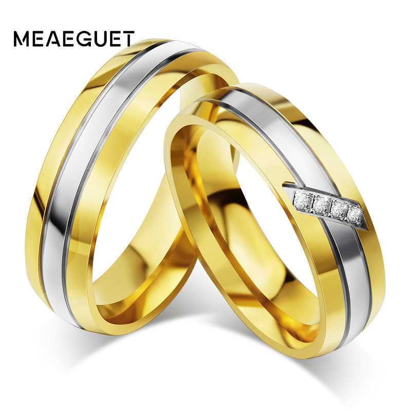 Meaeguet Gold Color Stainless Steel Unique Wedding Rings For