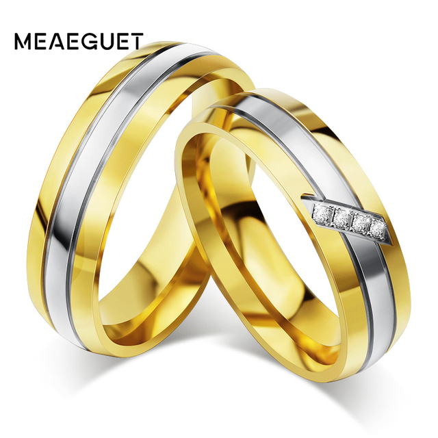 Meaeguet gold color stainless steel unique wedding rings for lovers meaeguet gold color stainless steel unique wedding rings for lovers cubic zirconia couple rings engagement junglespirit Gallery