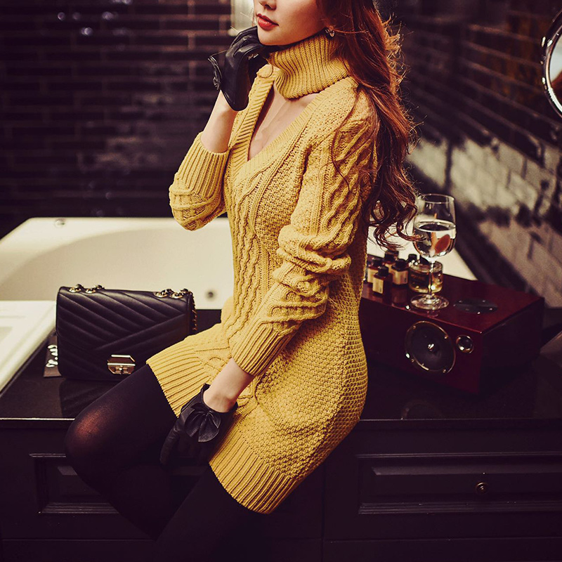 2017 knitted dress autumn wear new big sizes fashion sexy sweater dresses women wholesale hmchime 2017 autumn women high elastic knitted dress fashion sexy patchwork round collar long sleeve woman sweater dress hm703