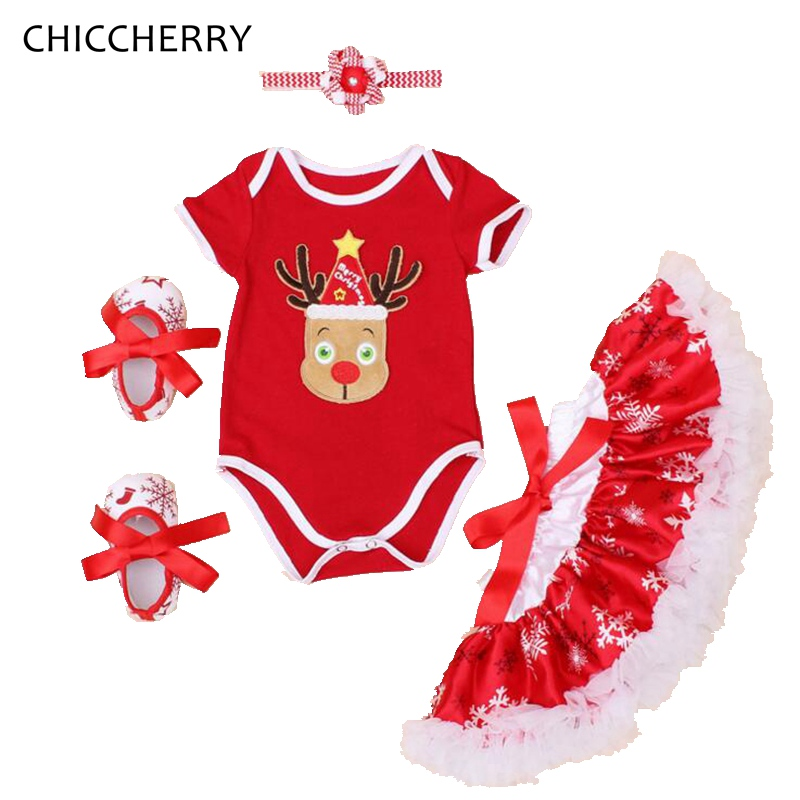 Red Nose Reindeer Rudolf Christmas Costume Bodysuits Lace Tutu Skirt Headband Crib Shoes Baby Girl Christmas Outfit Kids Clothes