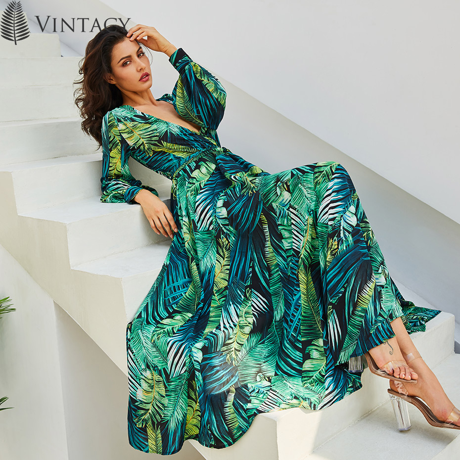 Image 3 - Vintacy Long Sleeve Dress Green Tropical Beach Vintage Maxi Dresses Boho Casual V Neck Belt Lace Up Tunic Draped Plus Size Dress-in Dresses from Women's Clothing
