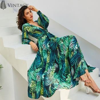 Vintacy Long Sleeve Dress Green Tropical Beach Vintage Maxi Dresses Boho Casual V Neck Belt Lace Up Tunic Draped Plus Size Dress 2