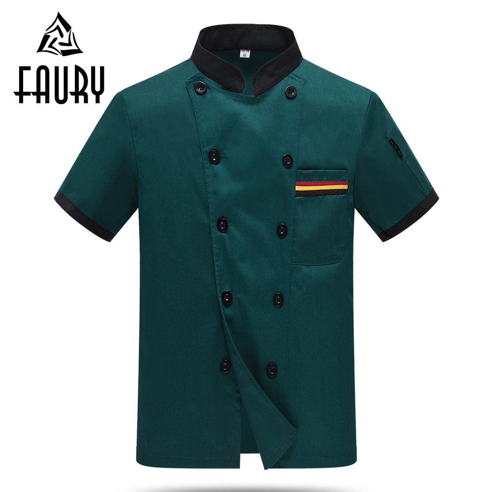 Unisex Double Breasted Short Sleeve Kitchen Workwear Hotel Cafe Bakery Waiter Restaurant Chef Cooking Jackets Tops Aprons