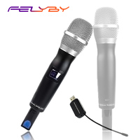 FELYBY Professional USB Wireless Handheld Karaoke Microphone with Wireless Receiver Support Computer & Speaker