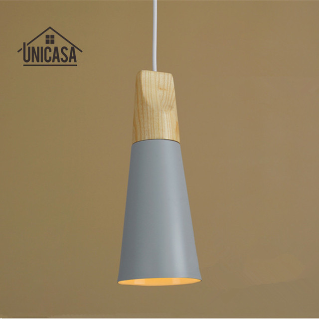 Vintage madera Lámparas colgantes moderno gris aluminio Iluminación ...