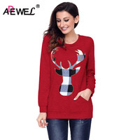 ADEWEL New 2018 Autumn Winter Christmas Plaid Deer Print Sweatshirt Fashion Long Sleeve Front Pocket Casual