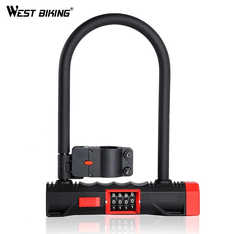 цена на WEST BIKING Bike Password U Lock Steel MTB Road Bicycle Motorbike Anti-theft Lock With Bracket Security U Locks For Cycling