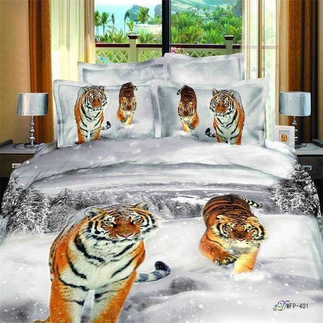 3d Animal D Impression Tigres Blanc Flocon De Neige Ensemble De