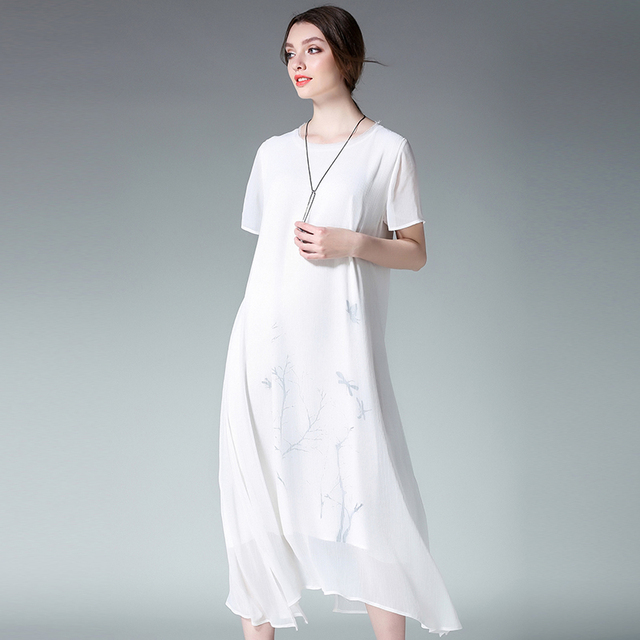 US $33.49 9% OFF 4xl women summer beach dress plus size bohemian style  beach loose fashon solid print white long short sleeve dresses extra  large-in ...