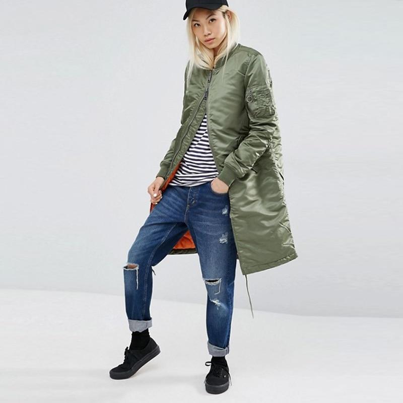 Winter long jackets and coats 2017 spring female coat casual  military olive green bomber jacket women basic jackets plus size 1
