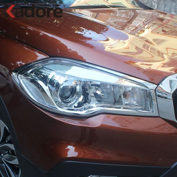For Suzuki S-cross scross facelift SX4 2017 2018 Front Head Light Lamp Detector Frame Stick Styling ABS Chrome Cover trim Parts for suzuki sx4 s cross 2013 2014 automobile chrome rear door trunk lid cover trim car styling stickers accessories