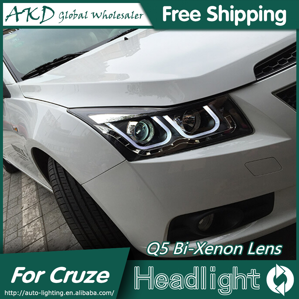 Akd car styling head lamp for chevrolet cruze headlights new cruze led headlight drl q5 bi xenon lens high low beam parking in car light assembly from
