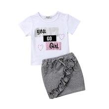 Новорожденных Одежда для детей; малышей; девочек Рубашка с короткими рукавами футболки Джинсовые юбки вы идете наряд с цветочным принтом, одежда летний комплект