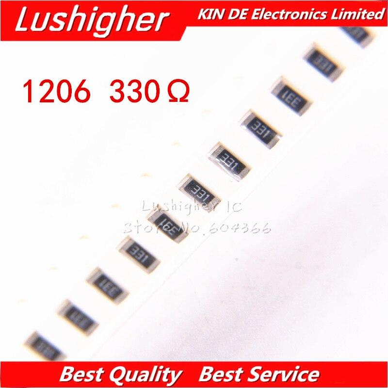 100 шт. 1206 SMD резистор 5% 330 Ом 331 330R 330ом