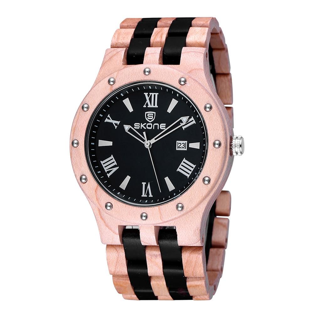 SKONE Newest Quartz Wooden Watch Top Luxury Brand Wood Watches For Men Simple Analog Wristwatch Clock