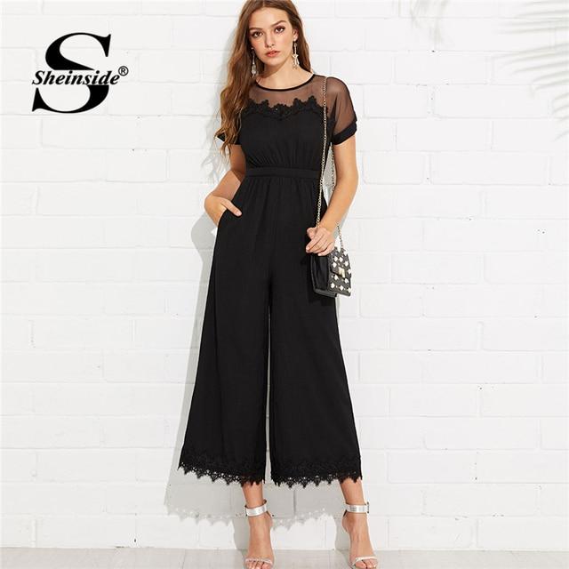 5cfc57625236 Sheinside Mesh Shoulder Lace Hem Palazzo Jumpsuit Round Neck Short Sleeve  Summer Jumpsuit Office Ladies Black Wide Leg Jumpsuit
