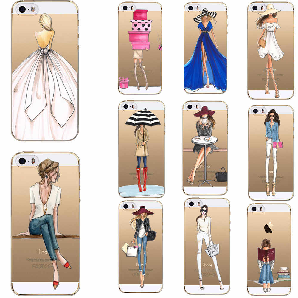 Moda chicas señora para Apple Iphone7 7 Plus 6 6 S 5 5S SE fundas de silicona transparente suave para funda para teléfono Iphone 8 8 Plus