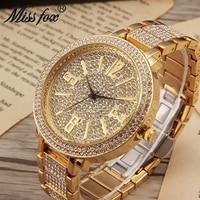 Miss Fox Luxury Brand Big Face Ladies Wrist Watch Fashion Watches Women Quartz Movement Full Diamond Mosaic Female Wristwatches