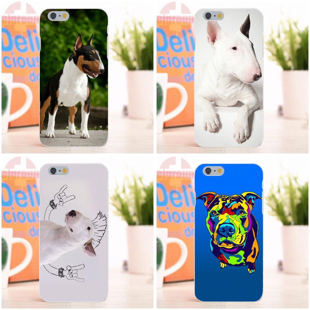 EJGROUP Happy Bull Terrier Dog Soft Silicone TPU Transparent Art Online Cover Case For iPhone 4 4S 5 5S 5C SE 6 6S 7 8 X Plus