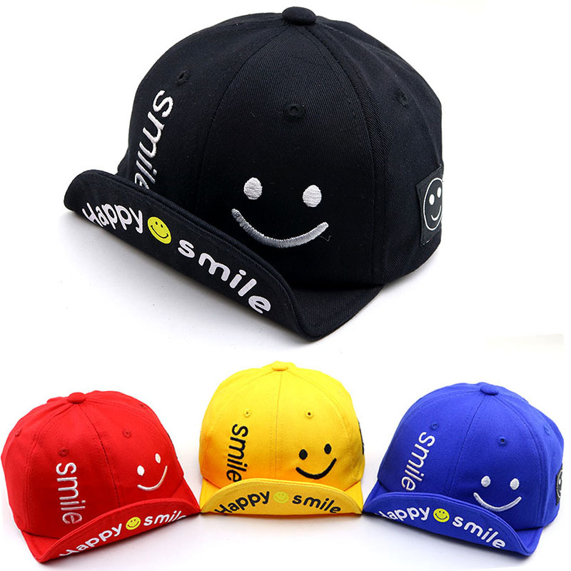 2019 Spring And Summer Cute Cartoon Soft Along SMILE Smiley Kids Baseball Caps Baby Boy And Girl Hat Newborn Photography Props