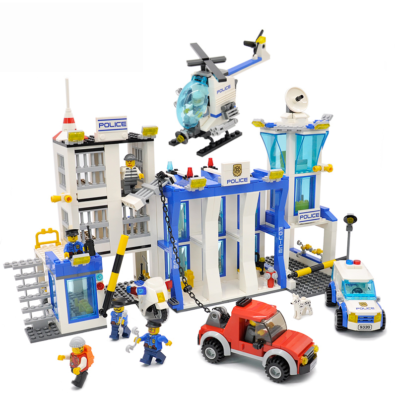 9320 870pc Compatible LegoINGlys City Street Police Station Helicopter Model Building Blocks Bricks Educational DIY Toys Gifts police station model building kit blocks playmobil helicopter blocks diy bricks educational toys compatible legoings city police